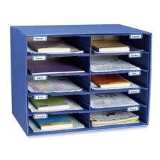 """Mail Box, 10 Slots, 12-1/2""""x10""""x3"""", Blue"""