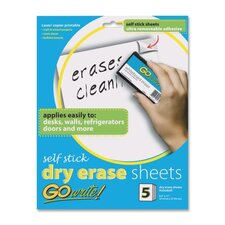 "Dry-Erase Sheets, Adhesive, 8-1/2""x11"", 5 Sheets per Pack, White"