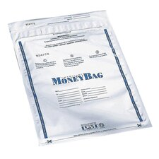 "Disposable Deposit Bag, Plastic, 9""x12"", 100 per Pack, Opaque/Clear"
