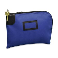 Night Deposit Zipper Bag w/Lock & 2 Keys, Nylon, 12 x 9, Blue