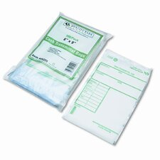 Cash Transmittal Bags w/Printed Info Block, 6 x 9, Clear, 100 bags per pack