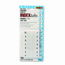 Side-Mount Self-Stick Plastic Index Tabs Nos 1-10, 1in, WE, 104/pack