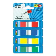 "Film Flags, Self-stick, 140 Flags, 2/5""x1-7/10"", 4 per Pack, Assorted"