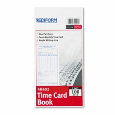 Employee Time Card, Semi-Monthly, 100/Pad (Set of 2)