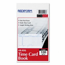 Employee Time Card, Daily, Two-Sided, 4-1/4 x 7, 100 per Pad