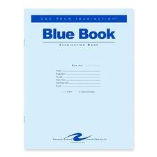 "Exam Book, Wide Ruled, 4 Shts, 11""x8-1/2"", 100/PK, Blue"