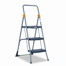 3-Step Steel Commercial Folding Step Stool with 300 lb. Load Capacity