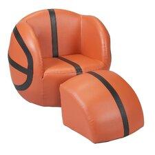 Basketball Kids Upholstered Novelty Chair & Ottoman