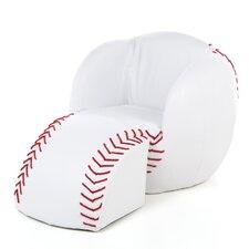 Novelty Kid's Baseball Chair & Ottoman Set