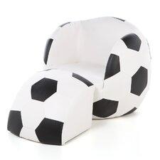 Soccer Ball Kid's Upholstered Novelty Chair & Ottoman Set