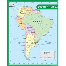 South America Map Chart 17x22 (Set of 3)