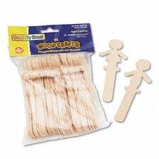 People-Shaped Wood Craft Sticks, 36/Pack