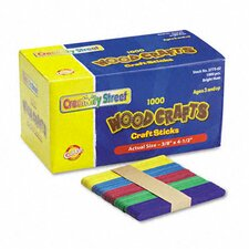 Colored Wood Craft Sticks, 1000/Box