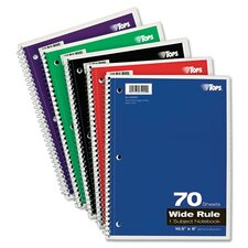 Wirebound 1-Subject Notebook, Wide Rule, 70 Sheets/Pad (Set of 4)