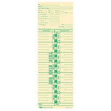 "Time Cards,Num Days, Payroll Deductions, 100 per Pack, 3-1/2""x10-1/2"""