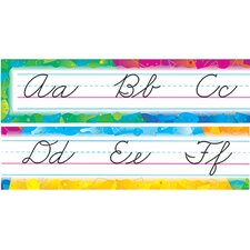 Color Splash Alphabet Line Zaner-Bloser Cursive Classroom Border