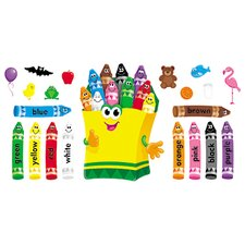 21 Piece Colorful Crayons Bulletin Board Cut Outs Set