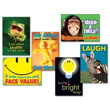 "6 Piece Assorted ""Attitude and Smiles"" Themed Motivational Prints Poster Set"