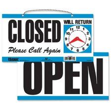 "Open/Close Sign,w/ Please Call Again, 11-1/2""x6"", White/Blue"