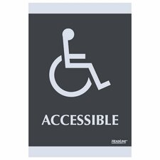 "ADA Signs,""Accessible"", Adhesive, 6""x9"", Silver/Black"