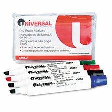 Dry Erase Markers, Chisel Tip, Assorted, 4/Set (Set of 2)