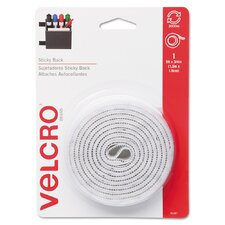 Sticky-Back Hook and Loop Fastener Tape With Dispenser, 3/4 X 5 Ft. Roll