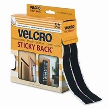 Sticky-Back Hook and Loop Fastener Tape With Dispenser, 3/4 X 15 Ft. Roll