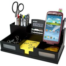 Midnight Black Desk Organizer with Smart Phone Holder