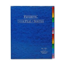 "Desk File/Sorter, Indexed 1-31, 12""x10"", Midnight Blue"