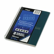Five Star Wirebound Notebook, College Rule, Perforated, 6 X 9-1/2, 2 Subject 100 Sheets (Set of 2)