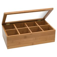Bamboo 8 Compartment Tea Box with Acrylic and Bamboo Lid