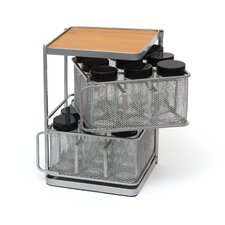 Two Tier Metal and Bamboo 18 Bottle Square Spice Tower