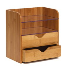 Bamboo 4 Tier Desk Organizer with Acrylic Shelves