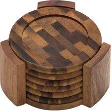 Acacia End Grain 7 Piece Coaster Set