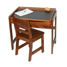 Kids Desk with Chalkboard Top & Chair Set in Walnut