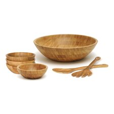 Bamboo Round Salad Bowl 7 Piece Set