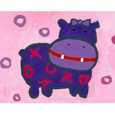 X and O Hippo Paper Print