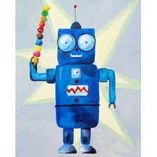 Dimdat Loves Ice Cream Robot Canvas Art