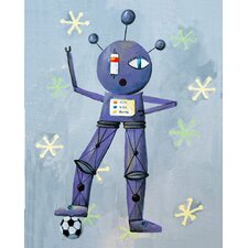 Newton Loves Soccer Robot Canvas Print