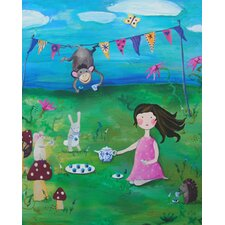 Wit & Whimsy Tea Party Brunette Canvas Art