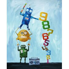 Robots Love Numbers Giclée Canvas Art