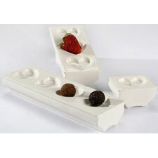 White Elevated Heart Tray Condiment Server