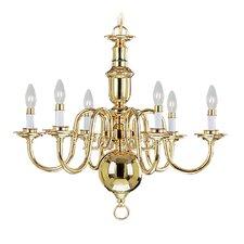 Beacon Hill Six Light Chandelier in Polished Brass
