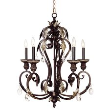 Iron and Crystal 5 Light Chandelier in Hand Rubbed Bronze with Antique Silver Accents