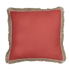 Fringe Welt and Raffia Trim Throw Pillow