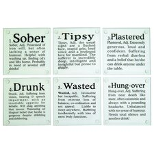 """Drunk?"" Glass Coaster (Set of 6)"