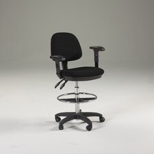 Adjustable Height Drafting Seat with Task Arms