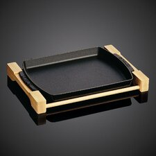 Cast Iron Rectangular Serving Dish with Wood Base