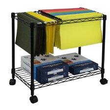 Portable 1-Tier Metal Rolling File Cart