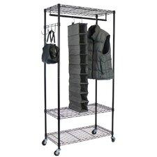 Garment Rack with Adjustable Shelves & Hooks